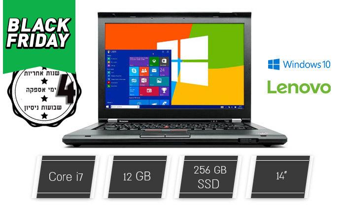 """2 מחשב נייד מחודש Lenovo דגםT430מסדרתThinkPad עם מסך """"14, זיכרון 12GB ומעבד i7"""