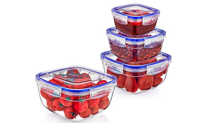 4 סט 8/12 קופסאות אחסון מזון Lock & Fresh