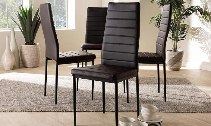 8 כיסאות אוכלבריפוד דמוי עור Homax