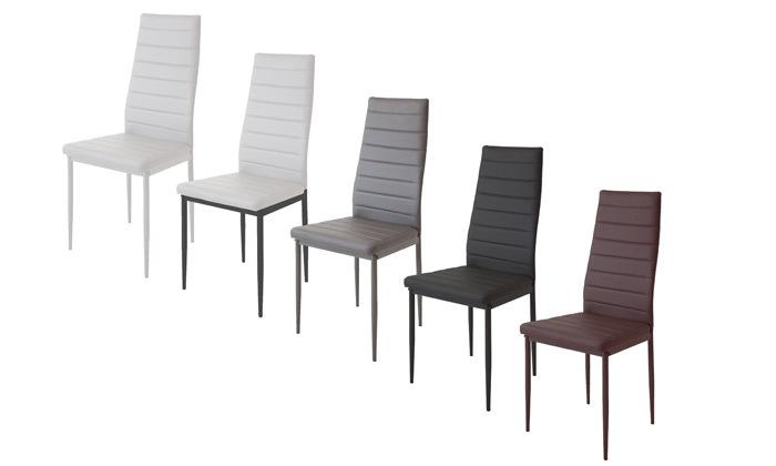 2 כיסאות אוכלבריפוד דמוי עור Homax