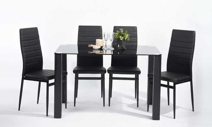 3 כיסאות אוכלבריפוד דמוי עור Homax
