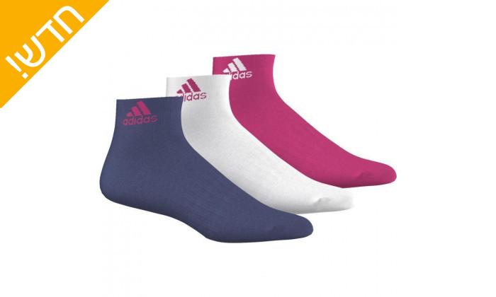 2 מארז 3 זוגות גרבי אימון דקים אדידס adidas