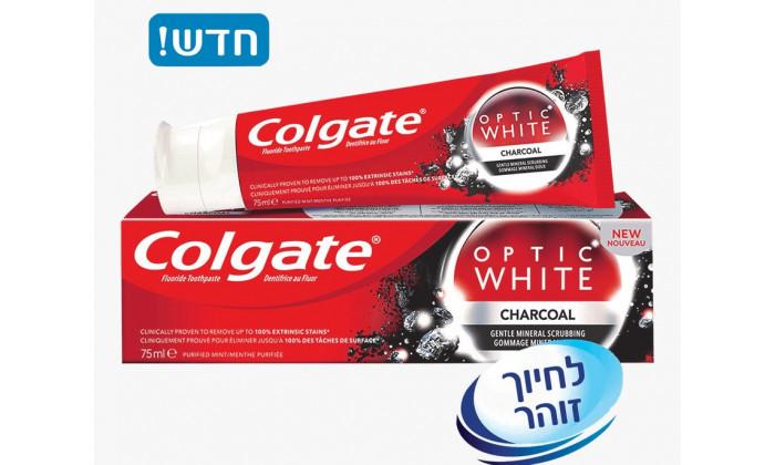 4 6 יח' משחת שיניים קולגייט Colgate אופטיק ווייט פחם