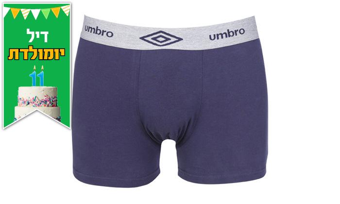 4 מארז 6 תחתוני בוקסר לגברים 100% כותנה Umbro במבחר מידות