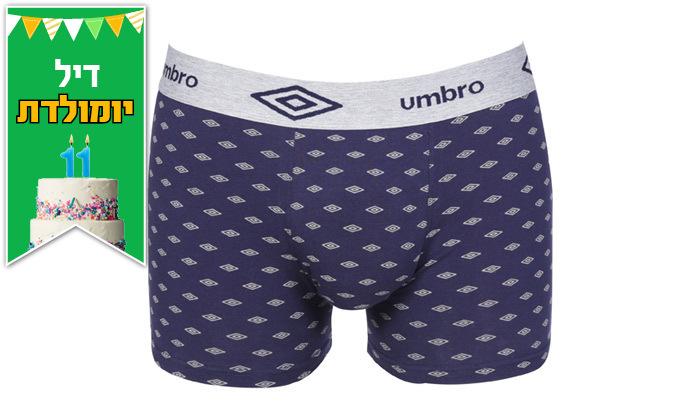 5 מארז 6 תחתוני בוקסר לגברים 100% כותנה Umbro במבחר מידות