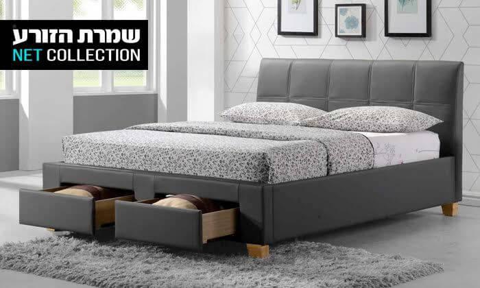 4 שמרת הזורע: מיטה זוגית מרופדת עם מגירת אחסון