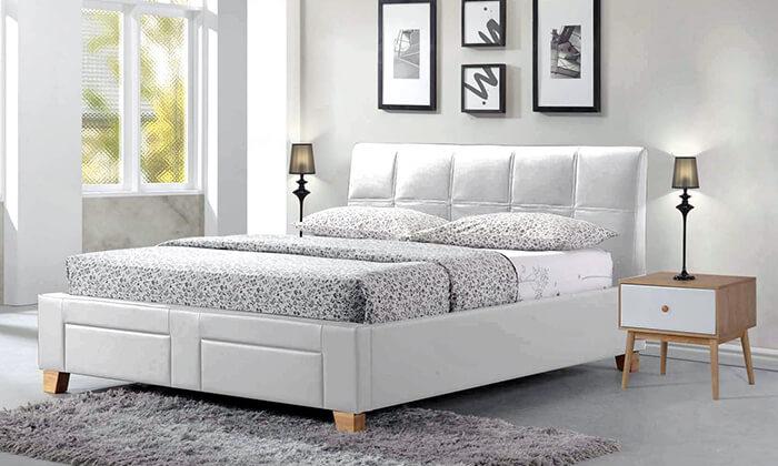 5 שמרת הזורע: מיטה זוגית מרופדת עם מגירת אחסון