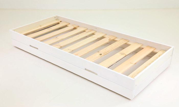 3 שמרת הזורע: מיטת ילדים מעץ מלא עם ארגז מצעים