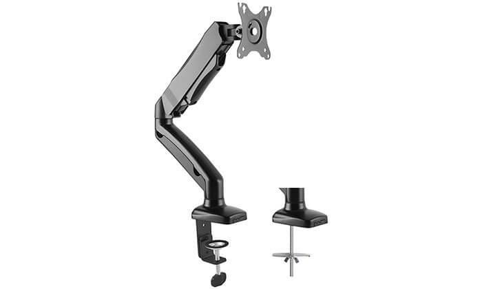 2 זרוע דו מפרקית למסך מחשב המתכווננת ב-360 מעלות