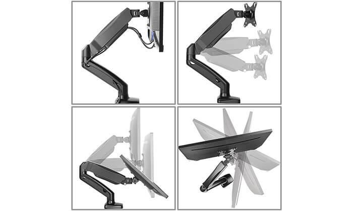 4 זרוע דו מפרקית למסך מחשב המתכווננת ב-360 מעלות