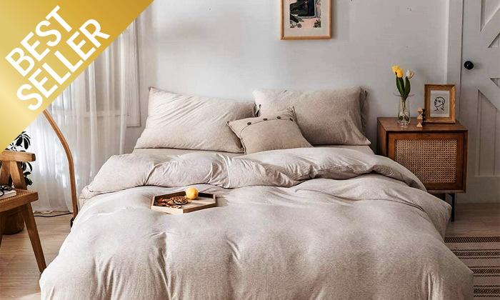 2 שתי מערכות מצעי JERSEY למיטת יחיד או זוגית במבחר צבעים