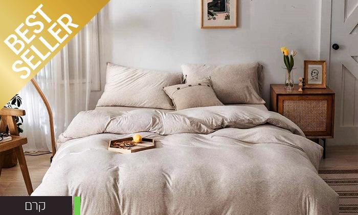 8 שתי מערכות מצעי JERSEY למיטת יחיד או זוגית במבחר צבעים