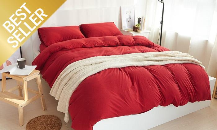 11 שתי מערכות מצעי JERSEY למיטת יחיד או זוגית במבחר צבעים