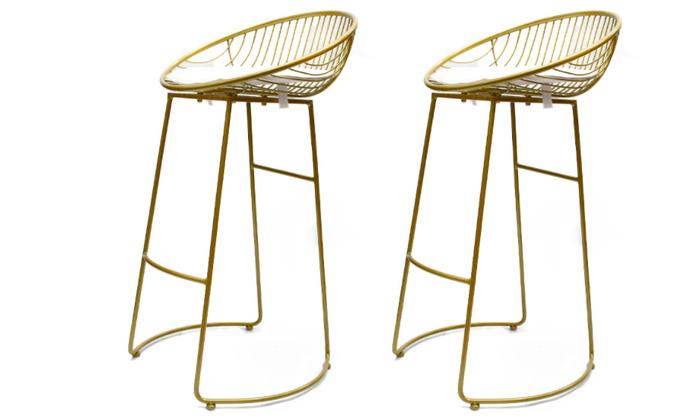 2 זוג כיסאות בר מרופדים בצבע זהב, ROSSO ITALY
