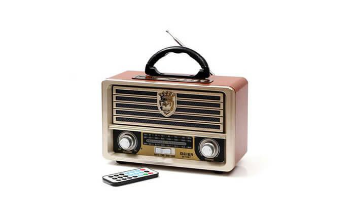 2 רמקול רדיו רטרו ניידעם כניסת USB, בלוטות' מובנה ושלט