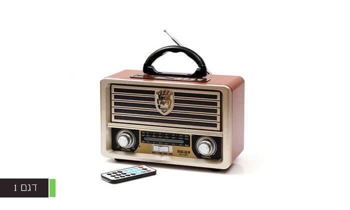 4 רמקול רדיו רטרו ניידעם כניסת USB, בלוטות' מובנה ושלט