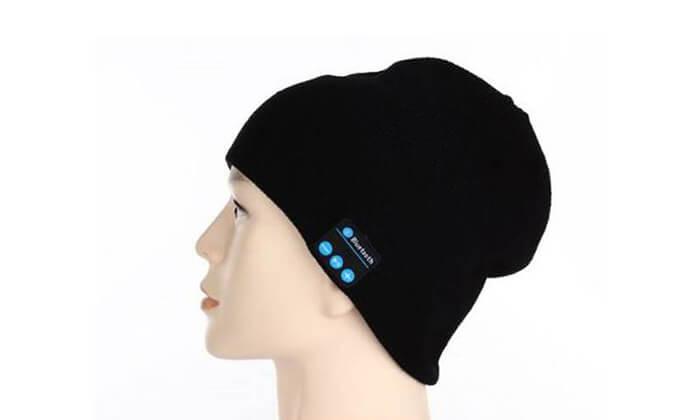 2 כובע גרב שחור עם שתי אוזניות Bluetooth