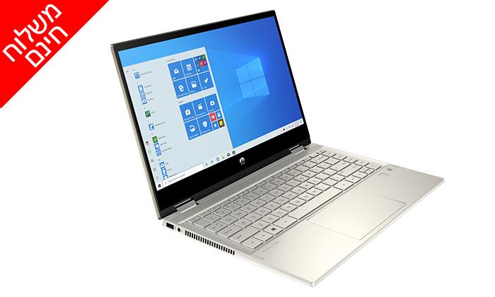 """5 מחשב נייד חדש HP דגם x360 מסדרת Pavilion עם מסך מגע """"14, זיכרון 8GB ומעבד i5 - משלוח חינם"""