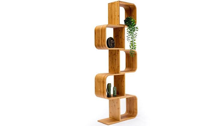 3 כוננית ספרים מדורגת מעץ במבוק