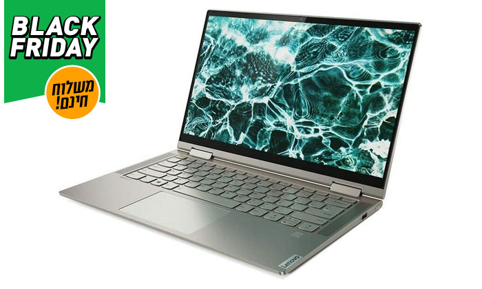 """3 מחשב נייד חדש Lenovo YOGA C740 עם מסך """"15.6, מעבד i7 וזיכרון 12GB - משלוח חינם"""