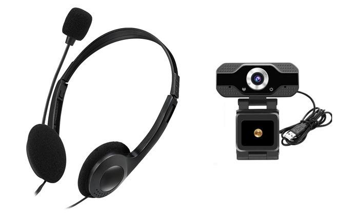 2 ערכת וידאו צ'אט עם מצלמת רשת ואוזניות מיקרופון - משלוח חינם