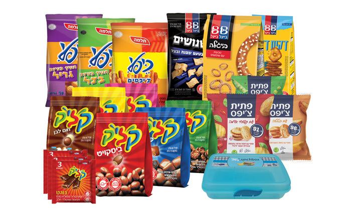 2 מארז חטיפים וממתקים כולל קליק, כיפלי, בייגלה ועוד