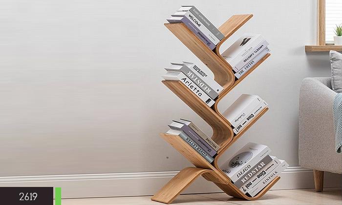 3 מעמד ספרים מעוצב מעץ במבוק