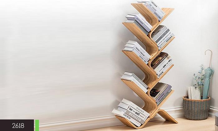 4 מעמד ספרים מעוצב מעץ במבוק