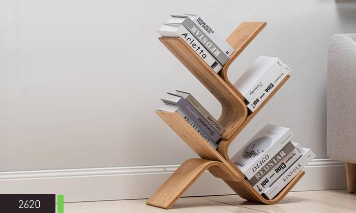 5 מעמד ספרים מעוצב מעץ במבוק
