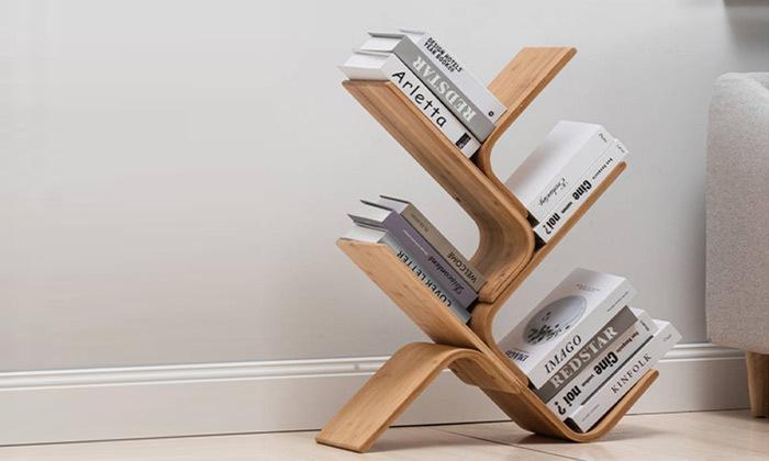 6 מעמד ספרים מעוצב מעץ במבוק