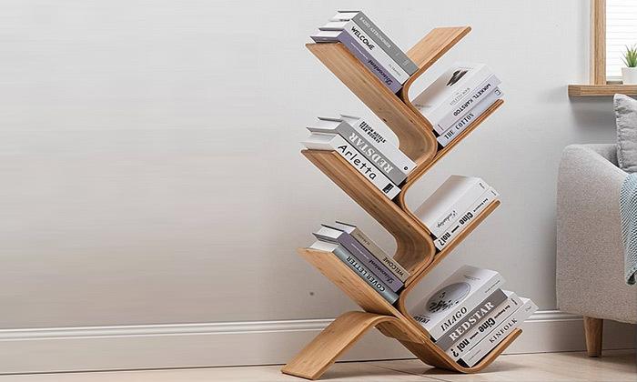 2 מעמד ספרים מעוצב מעץ במבוק
