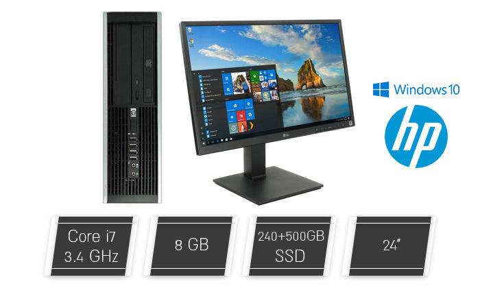 2 מחשב נייח מחודש HP דגםSFF8200מסדרת EliteDesk עם זיכרון 8GB ומעבד i7