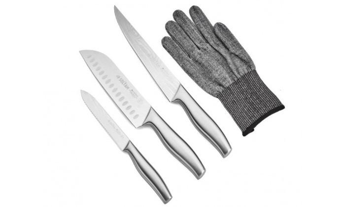 2 מארז 3 סכינים בעלי ידית נירוסטה וכפפת הגנהSoltam