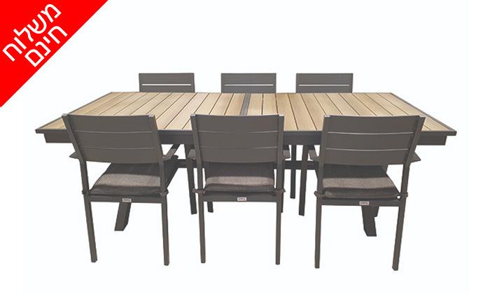3 פינת אוכל נפתחת לגינה Sunrise דגם בוורלי עם 6 כיסאות