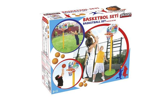 3 מתקן כדורסל מתכוונן עם כדורפילסן - Pilsan