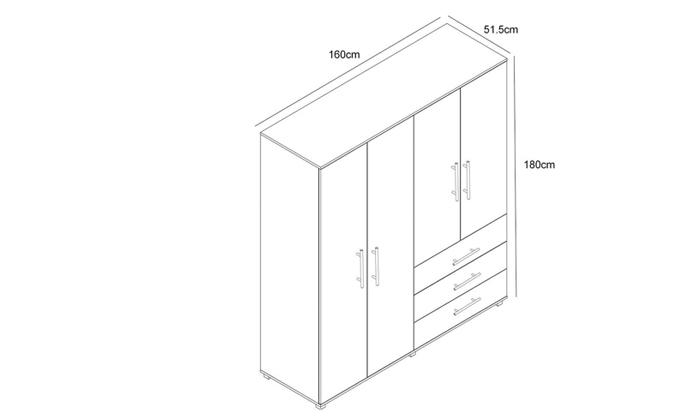 4 ארון בגדים עם 4 דלתות ו-3 מגירות ראמוס עיצובים