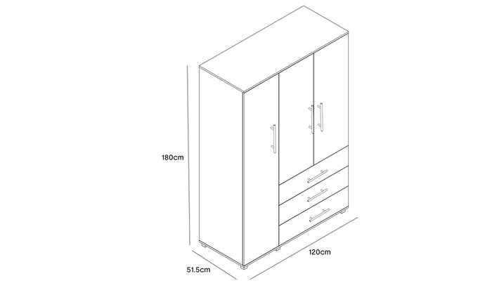 3 ארון בגדים עם 3 דלתות ו-3 מגירות ראמוס עיצובים
