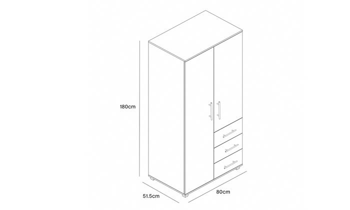 3 ארון בגדים עם 2 דלתות ו-3 מגירות ראמוס עיצובים