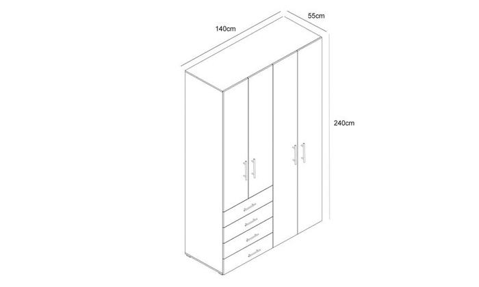 4 ארון בגדים עם 4 דלתות ו-4 מגירות ראמוס עיצובים
