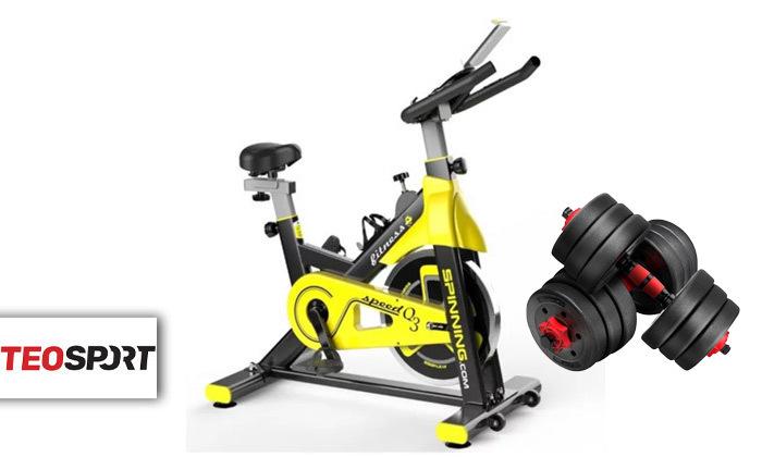 """2 אופני ספינינג TEO SPORT דגם Q3 כולל סט משקולות 14 ק""""ג"""