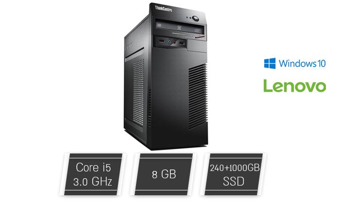 2 מחשב נייח מחודש לנובו Lenovo דגם M72e עם זיכרון 8GB ומעבד i5