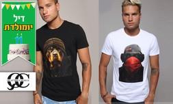 חולצת טי-שירט מודפסת לגברים