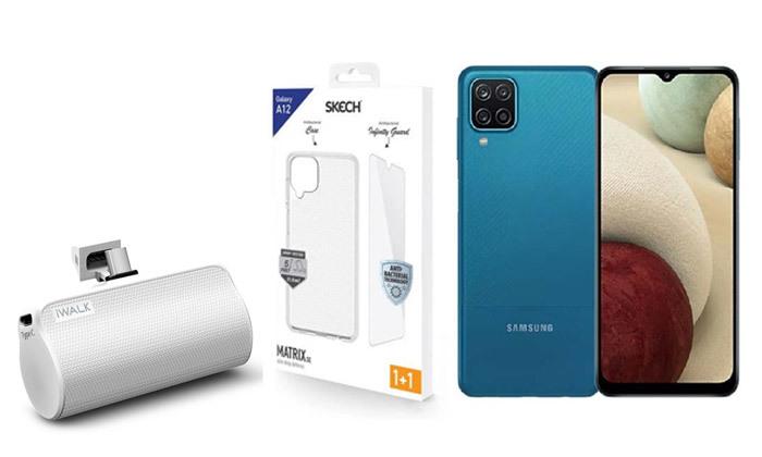 2 סמארטפון Samsung Galaxy A12 64GB עם סוללה ניידת וכיסויים