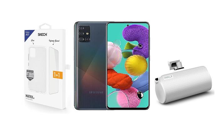 2 סמארטפון Samsung Galaxy A51 128GB עם סוללה ניידת וכיסויים