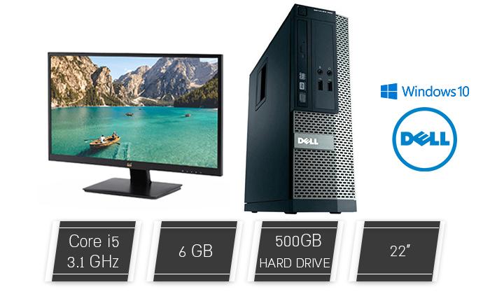 2 מחשב נייח DELL/HP/Lenovo עם מעבד i5, מסך 22 אינץ', מצלמה, מקלדת ועכבר