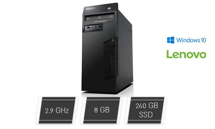 2 מחשב נייח מחודש לנובו Lenovo דגם M72e עם זיכרון 8GB ומעבד Pentium G850