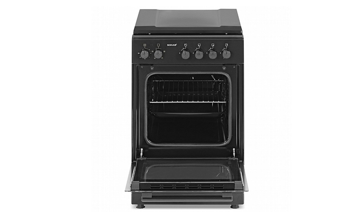 2 תנור 50 ליטר עם כיריים גז Sonab בצבע שחור