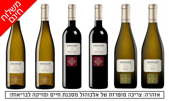 2 6 בקבוקי יין כשר מיקב ירושלים באיסוף או משלוח חינם משר המשקאות