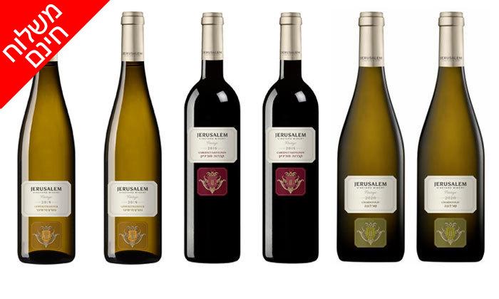 3 6 בקבוקי יין כשר מיקב ירושלים באיסוף או משלוח חינם משר המשקאות