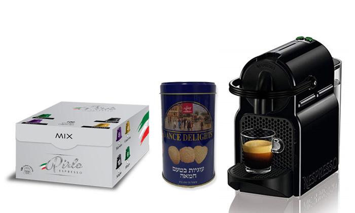 2 מכונת קפה Nespresso כולל 100 קפסולות פירלו מיקס ועוגיות חמאה